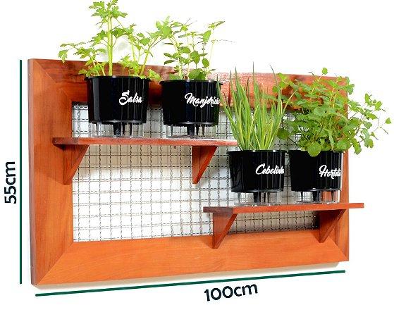 Horta Vertical de painel deitado com 4 Vasos Auto Irrigáveis da Linha Gourmet Pretos