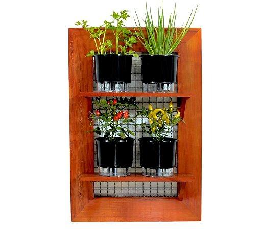 Horta Vertical de painel com 4 Vasos Auto Irrigáveis lisos pretos