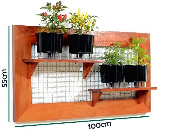Horta Vertical de painel deitado com 4 Vasos Auto Irrigáveis lisos Pretos ou coloridos