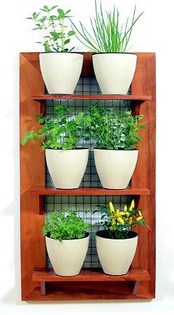 Horta Vertical - Painel com tela - 3 prateleiras com 6 Vasos Auto Irrigáveis da Plantiê (cores foscas)