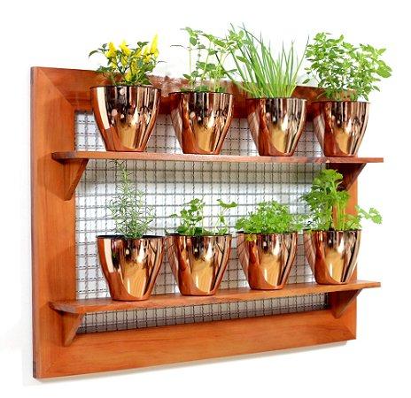 Horta Vertical - Painel com tela - 2 prateleiras com 8 Vasos Auto Irrigáveis da Plantiê (cores metalizadas)