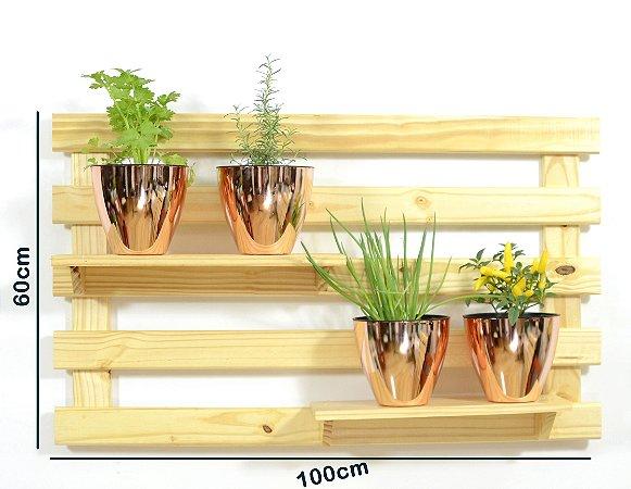 Horta Vertical - Treliça & Pallet deitada (60cmx100cm) - 2 prateleira e com 4 Vasos Auto Irrigáveis da Plantiê (cores metalizadas)