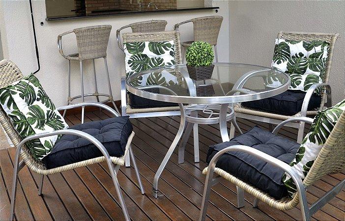 2 Futons - Conjunto de 2 almofadas Futons para Sacada/Jardim Estampado Folhas verde com Futon Liso preto