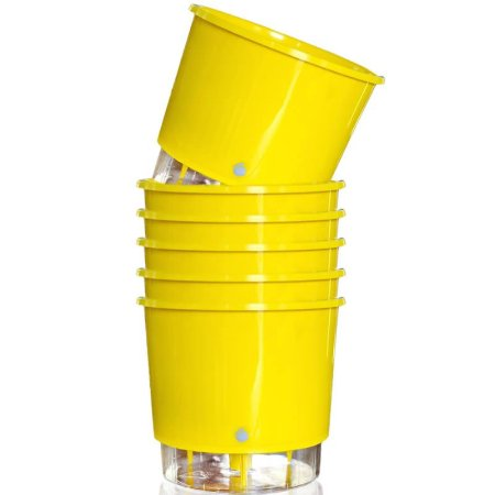 6 Vasos Auto-Irrigáveis grandes e Amarelos (16cm x 14,3cm)