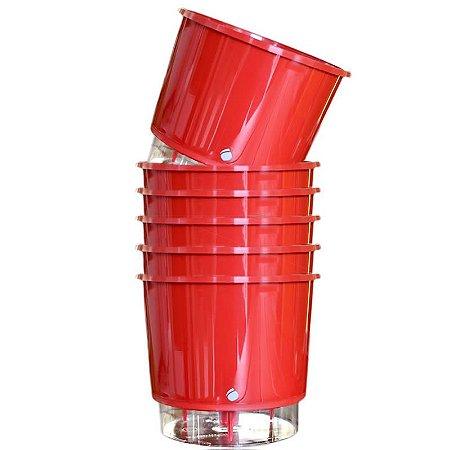6 Vasos Auto-Irrigáveis grandes e Vermelhos (16cm x 14,3cm)