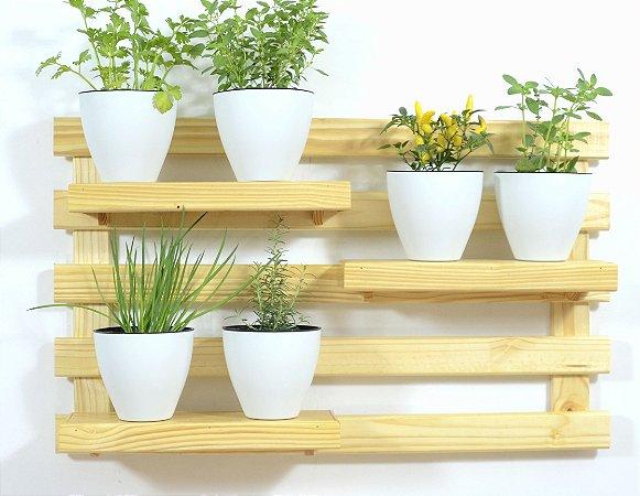 Horta Vertical - Treliça & Pallet deitada (60cmx100cm)- 3 prateleira e com 6 Vasos Auto Irrigáveis da Plantiê (cores foscas)