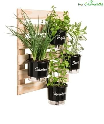 Horta Vertical Auto-Irrigável com 4 vasos e 4 suportes metalicos (Escolha os vasos)