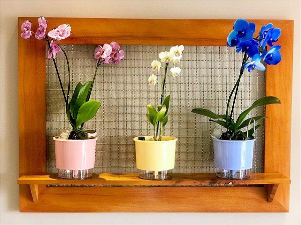 Jardim ou Horta Vertical Gigante (105x75) com 1 prateleira e 3 vasos Wishes (escolha os vasos)