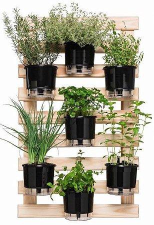 Horta Vertical Auto-Irrigável - Completa com 7 vasos Lisos + 7 Suportes e com a treliça envernizada