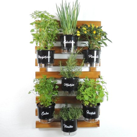 Horta Vertical Auto-Irrigável -Treliça Imbuia 100x60cm com 7 Vasos Raiz Grandes N3 Gourmet - Preto