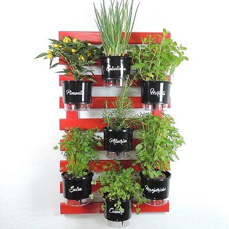 Horta Vertical Auto-Irrigável -Treliça Vermelha 100x60cm com 7 Vasos Raiz Grandes N3 Gourmet - Preto