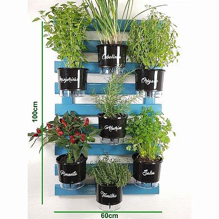 Horta Vertical Auto-Irrigável Gourmet - Treliça Azul 100x60cm com 7 Vasos Grandes Pretos
