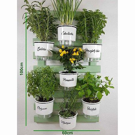 Horta Vertical Auto-Irrigável Gourmet - Treliça Verde Água 100x60cm com 7 Vasos Grandes Brancos