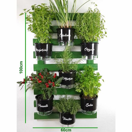 Horta Vertical Auto-Irrigável Gourmet - Treliça Verde 100x60cm com 7 Vasos Grandes Pretos