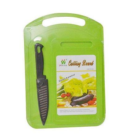 Conjunto de 2 tabuas e faca com proteção