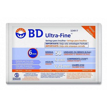 Seringa para Insulina Ultra Fine  0,5ml - BD 10 unidades