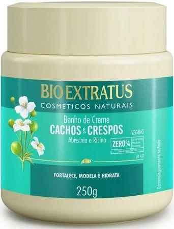 Cachos e Crespos  Banho de Creme Abissínia e Rícino VEGANO 250g  Bio Extratus
