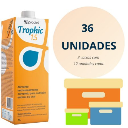 kit 3 cx Trophic 1.5 Kcal/ml -KIT 36 litros