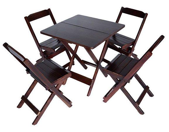 Conjunto 4 Cadeiras e 1 Mesa de Madeira Dobrável 60 x 60 - com pintura Imbuia