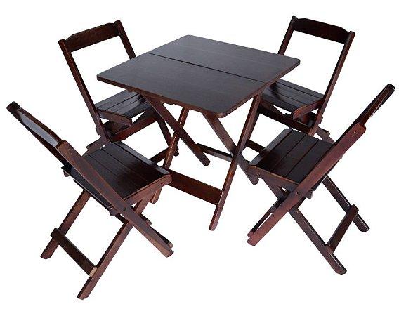 Conjunto 4 Cadeiras e 1 Mesa de Madeira Dobrável 70 x 70 - com pintura Imbuia