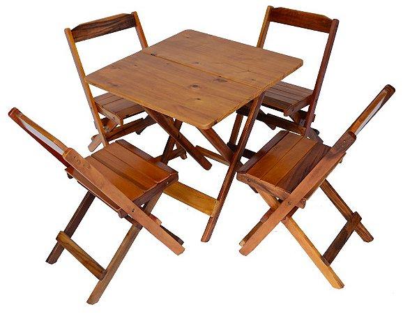 Conjunto 4 Cadeiras e 1 Mesa Dobrável de Madeira 60 x 60 - Com Pintura Mel