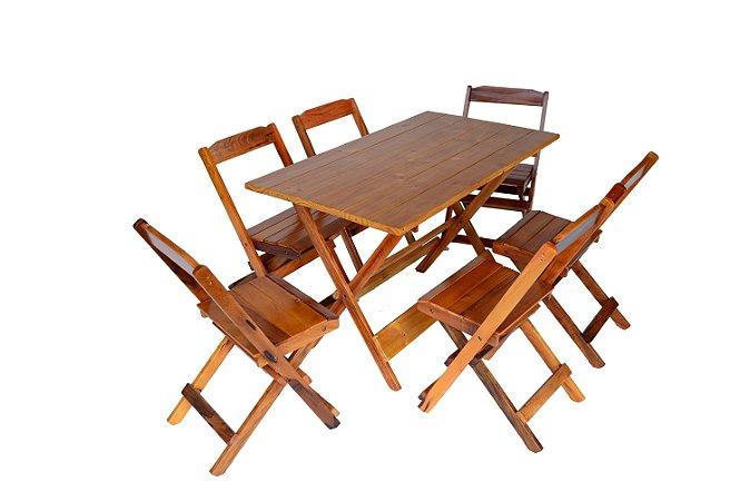 Conjunto 6 cadeiras e 1 mesa dobrável  120 x 70 - com pintura na cor mel