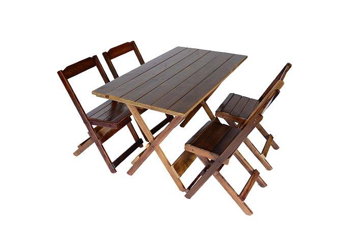 Conjunto 4 Cadeiras e 1 Mesa Dobrável de Madeira 120 x 70 - Com Pintura Imbuia