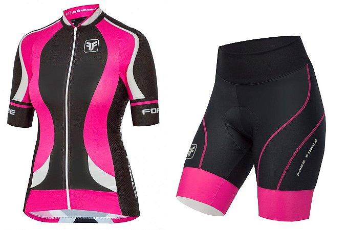 Conjunto de ciclismo feminino Princess Pink - Free Force - Roupas ... d4693e78b5