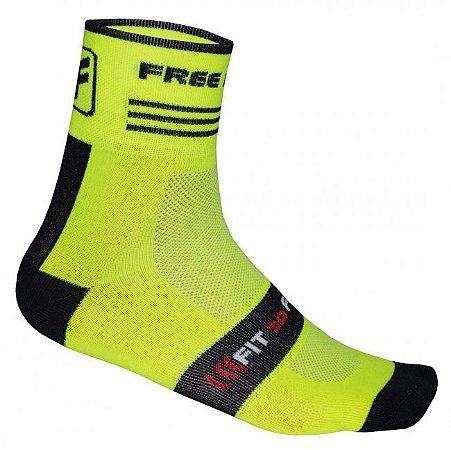 Meia de ciclismo cano médio Bars Amarelo Flúor - Free Force