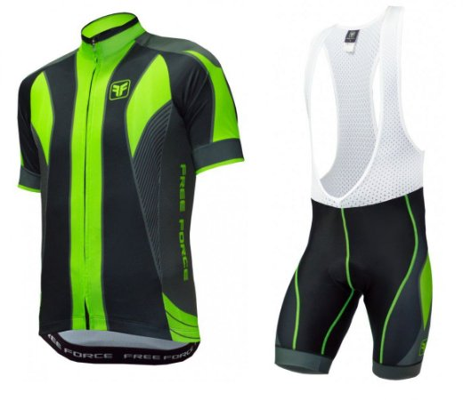 Conjunto de ciclismo Blaster Verde Flúor (Camisa + Bretelle) - Free Force