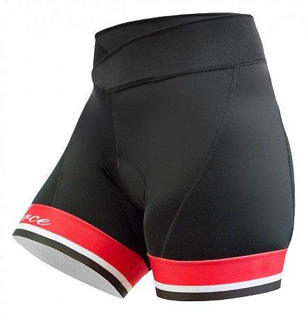 Short de ciclismo Malibu Preto/Vermelho - Free Force