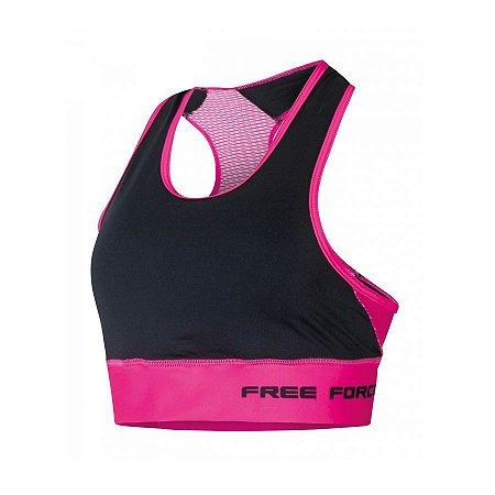 Top feminino de ciclismo Stage Preto/Rosa - Free Force