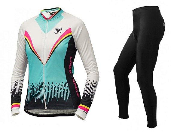 Conjunto de ciclismo feminino Victory Branco/Preto - Free Force