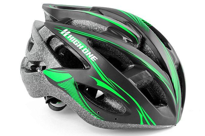 Capacete de ciclismo MV88 Preto-Verde Fosco - High One