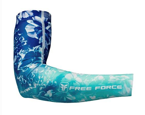 Manguito ciclismo feminino de verão Flowers Free Force Azul Marinho