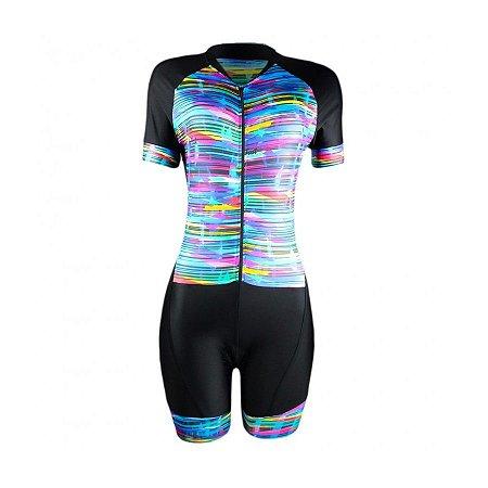 Macaquinho de ciclismo feminino Be Fast Colors forro em gel