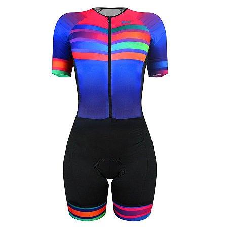 Macaquinho de ciclismo feminino SportXtreme Comfort Rainbow