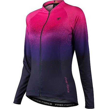 Camisa de ciclismo feminina manga longa Free Force Speckle