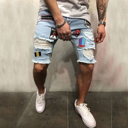 Bermuda Jeans Skinny Destroyed - Com Patches