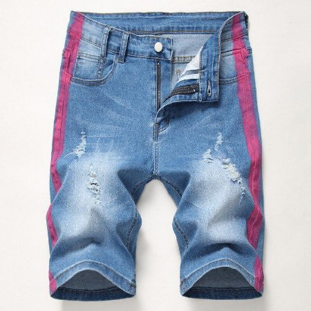 Bermuda Jeans Skinny Destroyed com Faixa Lateral Pintada