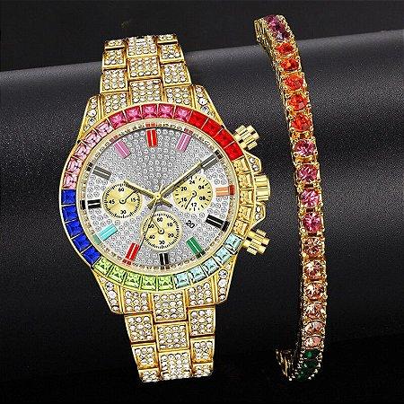Relógio Dourado Cristal Strass com Pulseira de Brinde
