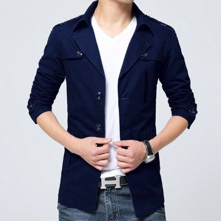 Blazer em Sarja Masculino Slim Fit Aodirock - Azul