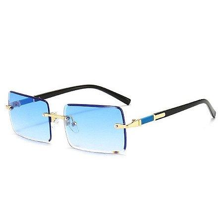 Óculos de Sol Quadrado com Lentes Sem Aro