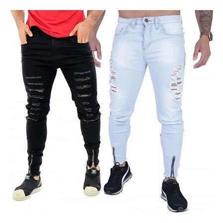 Kit com 2 - Calça Jeans Masculina Skinny Destroyed Zíper