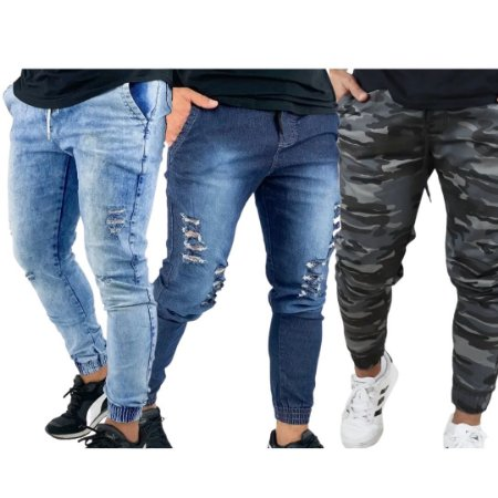Kit com 3 - Calça Jogger Masculina Jeans Sarja
