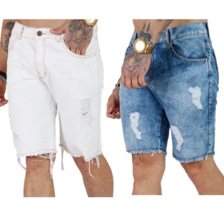 Kit com 2 - Bermuda Jeans Destroyed Masculina