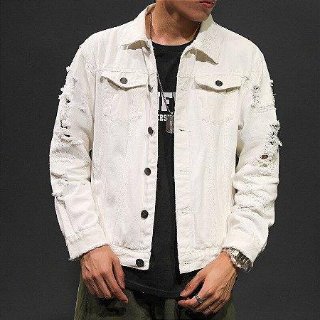 Jaqueta Jeans Masculina Branca Destroyed - PP ao XGG