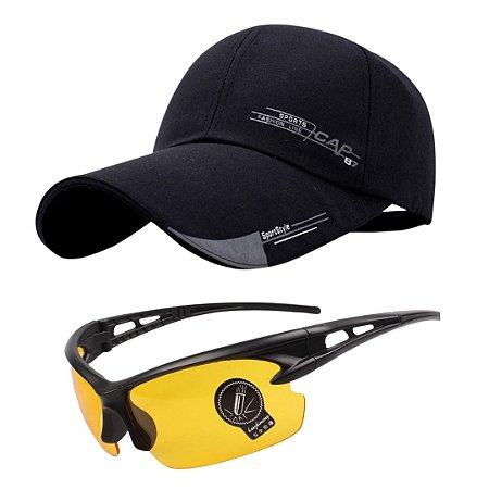 Kit com 1 Óculos de Sol Esportivo + 1 Boné Aba Curva
