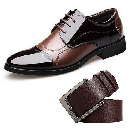 Kit com 1 Sapato Social Vernizado + 1 Cinto em Couro Luxury