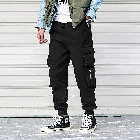 Calça Streetwear Jogger com Bolsos Laterais